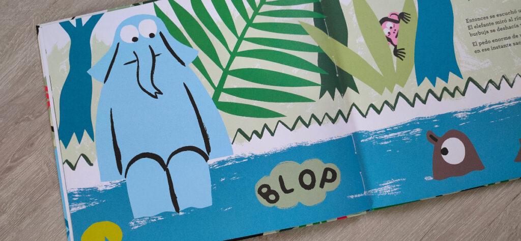 El elefante sentado en la orilla cuando escucha el pedo del hipopótamo.