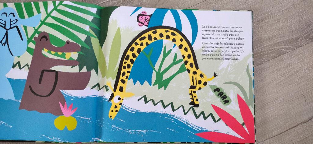 La jirafa bebiendo del río cuando se le escapa el pedo.